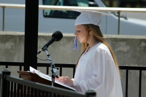 Jennifer Reynolds opened the 123rd Kennett High School commencement with the invocation. (Candice Monhollan)