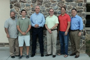 From left: Jim Conkle, Daniel McClure, Dave Wilks, Ed Dart, Andy Kolb and Paul Gouge will head to Burundi and Rwanda Aug. 9 to work with HOPE International and Younglife. (Candice Monhollan)