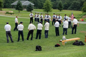 The Brandywine BBC of West Chester played the Rising Sun BBC of Maryland in a 19th century base ball game as part of the Mid-Atlantic Vintage Base Ball League at Pocopson Park Aug. 17. Brandywine lost by a final of 21-5. (Candice Monhollan)