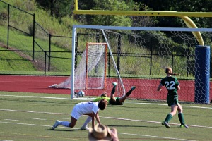 Mackenzie Moore opened the scoring in W.C. Rustin's 2-0 shutout over Bishop Shanahan. (Candice Monhollan)