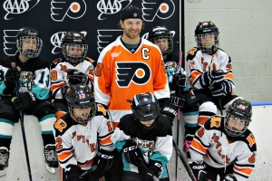 Claude Giroux even had time for a film shoot with some Mites at Ice Line on Oct. 27. (Candice Monhollan)