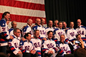 All 19 surviving members of the 1980 U.S. Olympic hockey team reunited in Lake Placid, N.Y., for the first time since winning the gold medal. (Candice Monhollan)