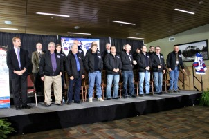 Fifteen of the 19 surviving members of the 1980 U.S. Olympic hockey team met for a press conference with the media and VIPs in Lake Placid Feb. 21. (Candice Monhollan)