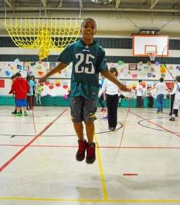 Glen Acres Elementary student Dayshawn Jacobs has fun participating in the Jump Rope for Heart event in support of the American Heart Association. (Daily Local News)