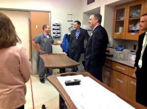 Rep. Ryan Costello took a tour of Paoli's trauma center, the only one in Chester County, Thursday morning. (Candice Monhollan)