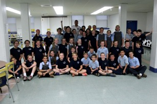 Richie Marquez of the Philadelphia Union visited fifth graders at the St. Agnes School on May 18 as part of the Independence Blue Cross Foundation's Healthy Futures initiative. (Candice Monhollan)