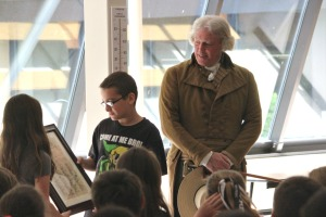 Penn Wood Elementary students presented Thomas Jefferson (Bill Barker) with their own Declaration, signed by each fifth grader as a thank you. (Candice Monhollan)