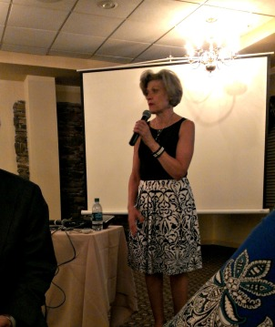Marianne Martelli, vice president of operations with the Chester County Chamber Foundation, speaks at the Youth Leadership Program banquet. (Candice Monhollan)