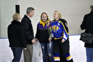 Downingtown East senior Katie Stueve took part in the senior night festivities despite an injury which will keep her out the remainder of the season. (Candice Monhollan)