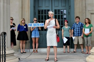 West Chester Mayor Carolyn Comitta spoke on the steps of the Chester County Courthouse to help raise awareness of the need for a fair funding formula for schools in the state. (Candice Monhollan)