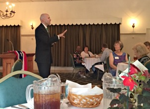 Chester County District Attorney Tom Hogan speaks at the annual League of Women Voters luncheon at The Elks on June 23. (Candice Monhollan)