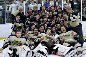 West Chester Rustin clinch the Flyers Cup 'A' championship after a 7-1 victory over West Chester Henderson at Ice Line Monday night. (Candice Monhollan)