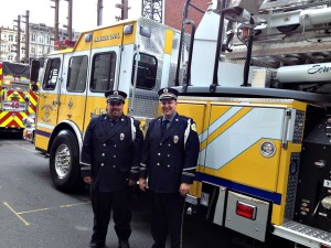 Shaun Hamilton and Karl Stevens of Alert Fire Company No. 1 in Downingtown represented the company and Chester County in the Wawa Welcome American parade in Philadelphia. (Alert Fire Company)