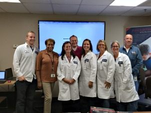 Sartomer, a division of Arkema, held the Arkema Science Teacher Program at its location in West Chester. From left, Guillaume Perrinaud (Sartomer process engineer), Roberta Showell (Sartomer quality control manager), Caroline McGaughey (Exton Elementary School), Ken Sweeney (Sartomer plant manager), Robbi Giuliano (Mary C. Howse Elementary School), Cari Jones (East Fallowfield Elementary School), Alyece Ziegler (East Fallowfield Elementary School) and Kerry Acker (Sartomer safety specialist). (Candice Monhollan)