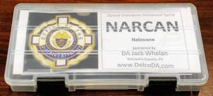 Delaware County District Attorney Jack Whelan announced the deployment of nasal Naloxone or Narcan to all Delaware County police officers, during a press conference Monday morning November 24, 2014 at the county Government Center in Media. Whelan was flanked by over a dozen police chiefs, as well as county and state officials. The Narcan kit provided by the District Attorney's office to each of the 400 police vehicles in Delaware County. (Tom Kelly IV)