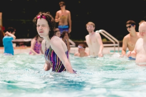 Bournelyf Special Camp participants get to cool off from the summer heat in an Olympic-sized pool. (Leigh Photography)