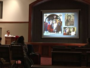 Kennett Square artist Neilson Carlin created an oil painting of the Holy Family for the 2015 World Meeting of Families, which is now on display at the Cathedral Basilica of Saints Peter and Paul in Philadelphia. (Candice Monhollan)