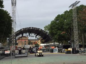 Preparations underway on The Benjamin Franklin Parkway in Philadelphia for visit by Pope Francis. Tuesday, September 22, 2015. (Candice Monhollan)