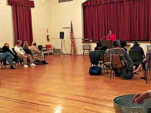 Kathi Cozzone, running for county commissioner in November, is speaking at the Charles A. Melton Arts and Education Center during an informal meet and greet hosted by the West Chester NAACP on Friday night. (Candice Monhollan)