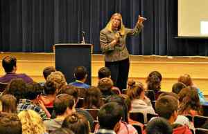 Chester County Deputy District Attorney Renee Merion spoke with eighth-grade students at Fugett Middle School about the dangers of social media and more Tuesday afternoon. (Tracey Dukert)
