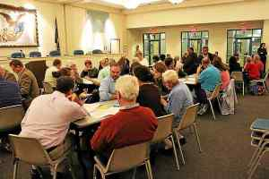 About 50 residents came out to the parking town hall meeting Tuesday night to discuss parking issues in West Chester Borough. (Candice Monhollan)