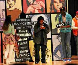 "The Walnut Street Theatre performed ""Only 13"" for students at Fugett Middle School on Friday. The show focused on bullying and the harmful effects it has. (Candice Monhollan)"