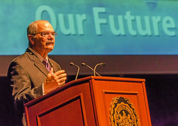 West Chester University President Greg Weisenstein delivers his final State of the University address on Thursday. Weisenstein will retire at the end of March. (West Chester University)