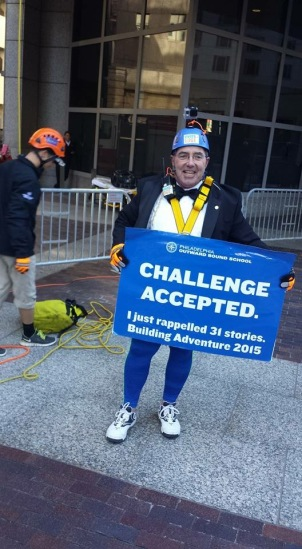 Dennis Wallace, who organized Team Rotary, successfully rappelled 31 stories down One Logan Square in Philadelphia to raise money for the Outward Bound School on Friday. (Dennis Wallace)