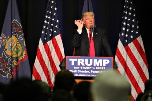 Republican presidential candidate Donald Trump held a rally in front of roughly 3,000 people in Hollinger Field House on the campus of West Chester University Monday. (Candice Monhollan)