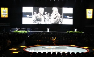 Philadelphia Flyers players, alumni and fans, along with friends, family and colleagues of Ed Snider remember the life of the Flyers founder during a public memorial on Thursday at the Wells Fargo Center. (Candice Monhollan)