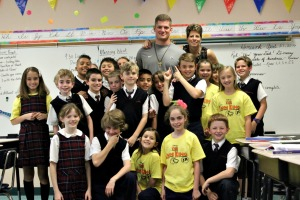 Carl Nassib visited his old school of St. Maximilian Kolbe School in West Chester on Wednesday and stopped in a fourth-grade classroom to sign autographs. (Candice Monhollan)