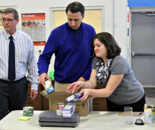 U.S. Rep. Ryan Costello visited the Chester County Food Bank to make a donation. (Candice Monhollan)