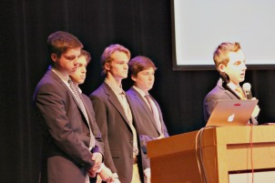 Malvern Prep students in the Social Entrepreneurship class presented their final projects in front of a panel with a CEO on Tuesday afternoon. (Candice Monhollan)