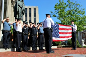Six of West Chester's local law enforcement departments took part in a special ceremony with Old Glory on the steps of the Old Historic Courthouse in West Chester on Friday morning. (Candice Monhollan)