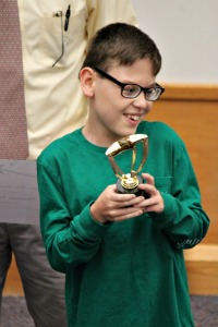 Thomas Crook, a fifth-grade student at Starkweather Elementary School, is the recipient of Keystone Federal Credit Union's 2016 Shining Star Award. He received his award in front of classmates on Friday afternoon. (Candice Monhollan)