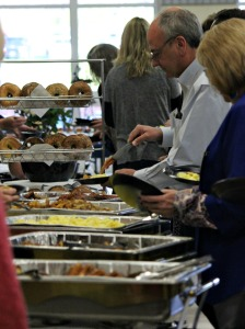 Community members, business leaders and district administrators attend the annual West Chester Area Education Foundation breakfast at West Chester Rustin High School on Friday morning. (Candice Monhollan)