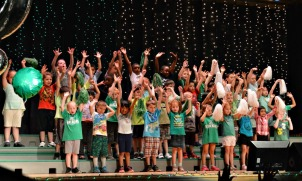 Glen Acres Elementary School kindergarteners perform a song and dance at the school's 50th birthday celebration. (Tracey Dukert)