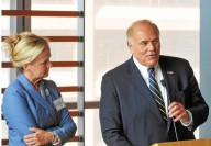 "Former Pennsylvania Gov. Ed Rendell,speaks at a gathering of gun control supporters at The National Museum of American Jewish History Monday.To his left is PA State Rep. Madeleine Dean, D-153, of Montgomery County. ""This is a fight worth fighting for,"" Rendell said. (Pete Bannan)"