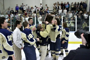 While West Chester Rustin celebrated its third consecutive Flyers Cup A Championship with a win over Springfield, several fights broke out in the lobby and parking lot of Ice Line, allegedly involving Springfield students and an Ice Line employee. (Patrick K. Henry)