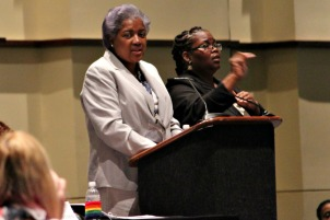 Donna Brazile, the interim chair of the Democratic National Committee, speaks during the Women's Caucus on Tuesday morning at the Pennsylvania Convention Center. (Candice Monhollan)