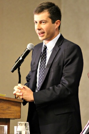 Pete Buttigieg, mayor of South Bend, Indiana, speaks at breakfast for the Pennsylvania Delegation and warns them about Republican vice presidential nominee Mike Pence, who is governor of his state. (Candice Monhollan)