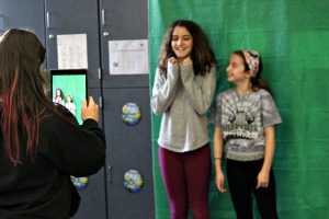 Fifth graders in Matt Rogers class filmed a promotion video about the Jamestown colony and used the DoInk app to superimpose a background as part of Westtown-Thornbury's Digital Learning Day on Wednesday. (Candice Monhollan)