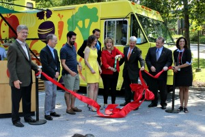 QVC, as the premier corporate sponsor of the Chester County Food Bank's Fresh2You, celebrated a ribbon cutting on Wednesday and allowed employees to purchase produce from the truck. (Candice Monhollan)