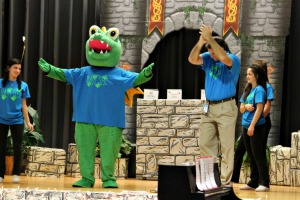 Mary C. Howse Elementary School's new mascot made its debut Friday afternoon during a schoolwide assembly. (Candice Monhollan)