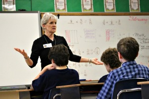 West Chester Mayor Carolyn Comitta, above, and state Sen. Andy Dinniman, below, met with a mix of fifth- and sixth-graders during Career Day at the St. Agnes School on Thursday. (Candice Monhollan)