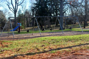A body of an unidentified person was reportedly seen hanging from the swing set in Marshall Square Park Monday morning. (Candice Monhollan)