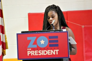 Janiyah DeShields reads her speech as to why she should be Zoe's running mate in the 2064 presidential election on Tuesday afternoon. (Candice Monhollan)