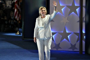 Hillary Clinton finally took the stage on Day 3 of the Democratic National Convention after a rousing speech by President Barack Obama. Tonight, she got the stage all by herself. (Candice Monhollan)