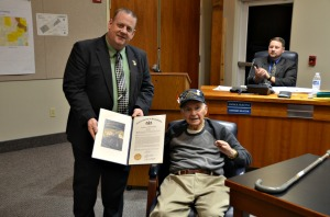 State Rep. Dan Truitt Presented Westtown resident and World War II veteran Joseph Valentino with a state citation for his service in the war. (Candice Monhollan)